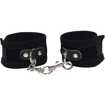 Bad Kitty Handcuffs, черные Наручники из замши bad kitty slapper черная двухсторонняя плеть шлёпалка