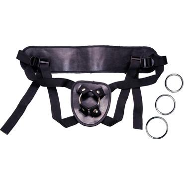 You2Toys Universal Harness, черное Крепление для страпона сменными кольцами пояс для чулок и стринги soft line кружевные белые xxxl