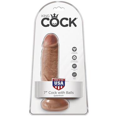 PipeDream King Cock 7 Cock with Balls, загорелый Фаллоимитатор реалистик с мошонкой на присоске рама с креплением к стене iron king cr 21