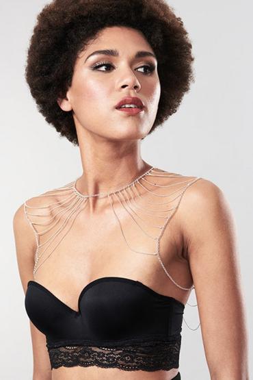 Bijoux Magnifique Metallic Chain Shoulders & Back Jewelry, серебристое Украшение для тела из металлических цепочек quilted metallic chain bag