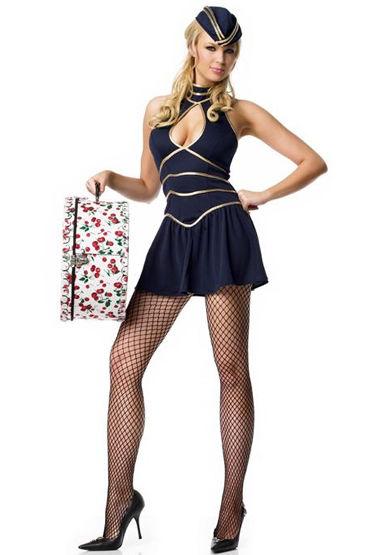 Le Frivole Стюардесса бизнес-класса Платье и пилотка игровой голубой костюм улетная стюардесса топ мини юбка шарф значок и пилотка