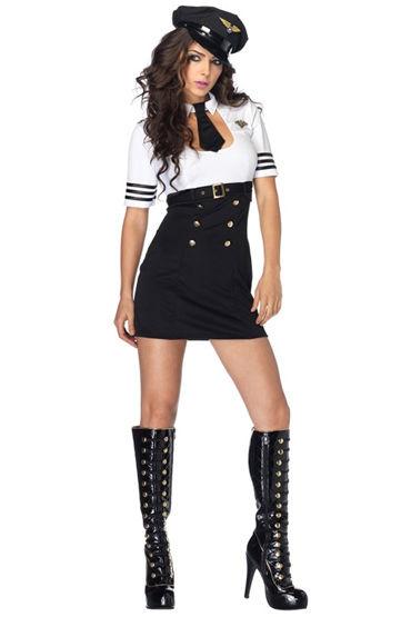 Le Frivole Стюардесса VIP Платье, пилотка и галстук игровой голубой костюм улетная стюардесса топ мини юбка шарф значок и пилотка