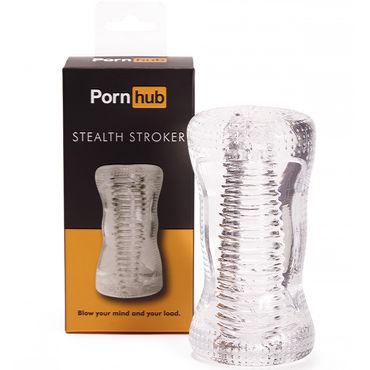 Pornhub Stealth Stroker, прозрачный Мастурбатор с рельефным тоннелем мастурбатор pornhub ribbed pussy stroker