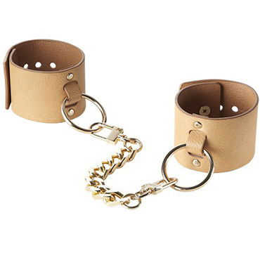 Bijoux Indiscrets MAZE Wide Cuffs, коричневые Наручники на цепочке анальный массажер sexus glass 13 5 см