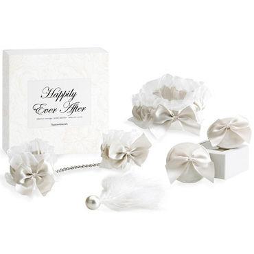 Bijoux Indiscrets Happily Ever After, белый Набор из подвязки, наручников, украшения на грудь, кисточки bijoux indiscrets twenty one vibrating diamond на