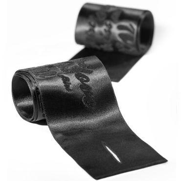 Bijoux Indiscrets Silky Sensual Handcuffs, черные Ленты для связывания рук 8 lolitta sensual черно красный