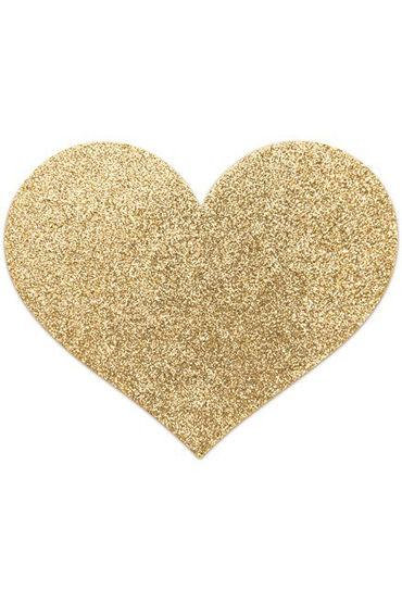 Bijoux Indiscrets Flash Heart, золотые Сверкающие наклейки на соски