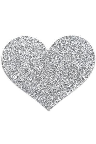 Bijoux Indiscrets Flash Heart, серебряные Сверкающие наклейки на соски