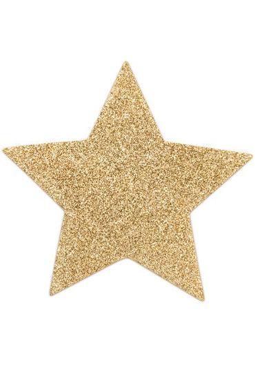 Bijoux Indiscrets Flash Star, золотые Сверкающие наклейки на соски
