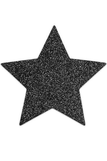 Bijoux Indiscrets Flash Star, черные Сверкающие наклейки на соски