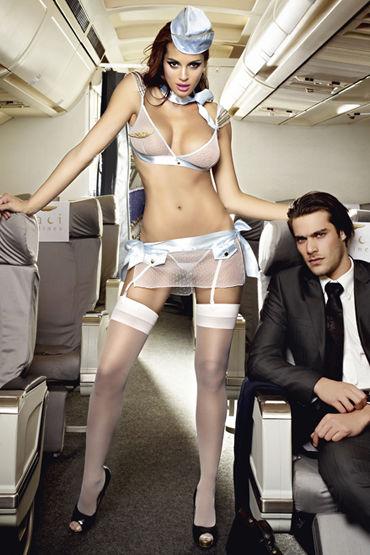 Baci Улетная Стюардесса Топ, мини-юбка, пилотка, шарф и значок игровой голубой костюм улетная стюардесса топ мини юбка шарф значок и пилотка