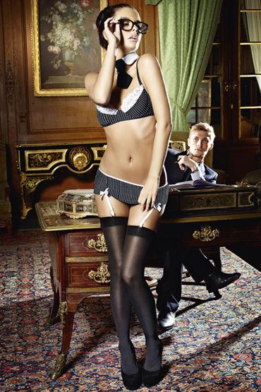 Baci Секретарша Секси Лиф, мини-юбка, воротничок и галстук ночь красивая секси белье равномерное искушение играть роль сексуальный ивонны стюардесса одежда форменная