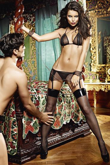 Baci Молния Любви Лиф, мини-юбка, воротничок и манжеты на цепочке baci пленница секса топ мини юбка и манжеты на цепочке