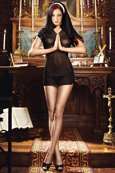 Baci Очаровательная Монашка Эротичное мини-платье и головной убор анальный охлаждающий любрикант обезболивающий на силиконовой основе jo anal premium cool 60 мл