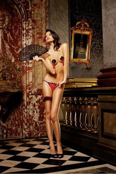 Baci трусики, красно-черные С узором в виде сердечек forplay lingerie комплект черный прозрачный с ажурным узором в виде губ