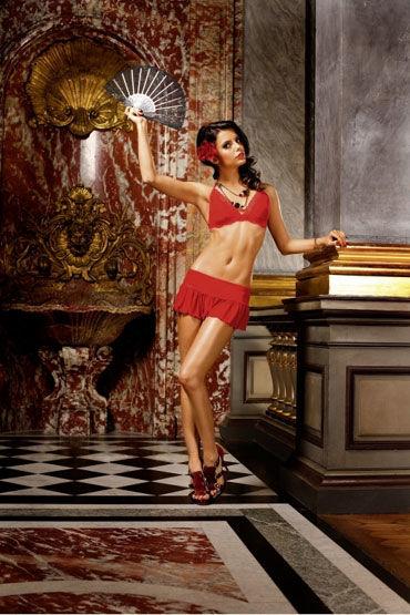 Baci комплект, красный Лиф с мини-юбкой и стрингами baci лолита топ мини юбка