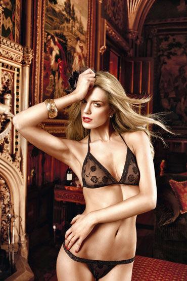 Baci комплект, черный Лиф с цветочной вышивкой и стринги кэтсьюты и чулки на тело baci lingerie официальный сайт