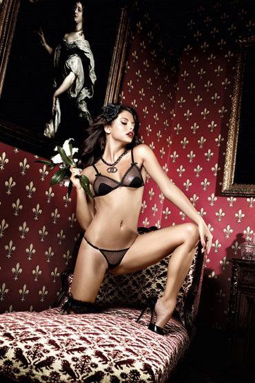 Baci комплект, черный Лиф с аппликациями и стринги forplay lingerie комплект черный прозрачный с ажурным узором в виде губ