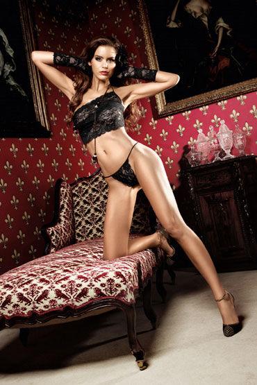 Baci комплект, черный Топ и стринги из роскошного кружева forplay lingerie комплект черный прозрачный с ажурным узором в виде губ