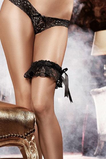 Baci подвязка, черная Кружевная, с большим бантом маска baci lingerie со стразами masq midnight черная