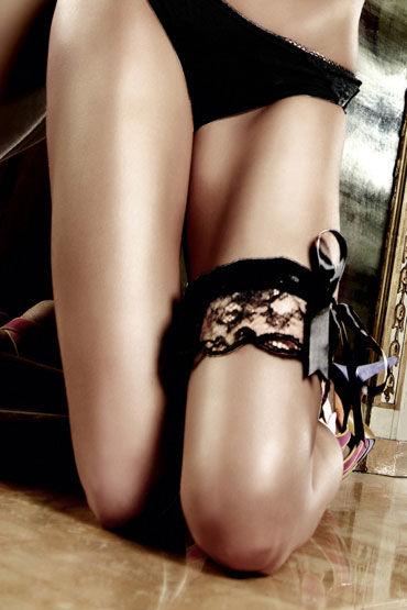 Baci подвязка, черная С кружевом и большим бантом маска baci lingerie со стразами masq midnight черная