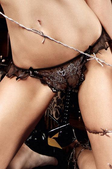 Baci стринги, черно-серебристые С орнаментом маска baci lingerie со стразами masq private affair золотистая