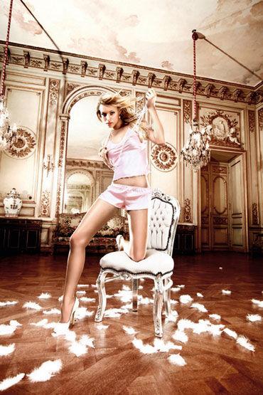 Baci комплект, розовый Сатиновые маечка и шортики топы и маечки женские материал полиэстер