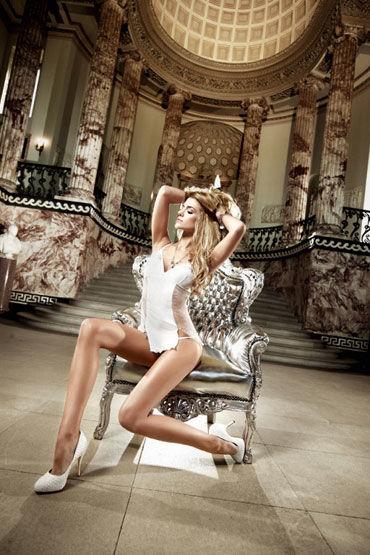 Baci мини-платье, белое Из тюлевой ткани в точечку d cotelli платье горничной черно белое