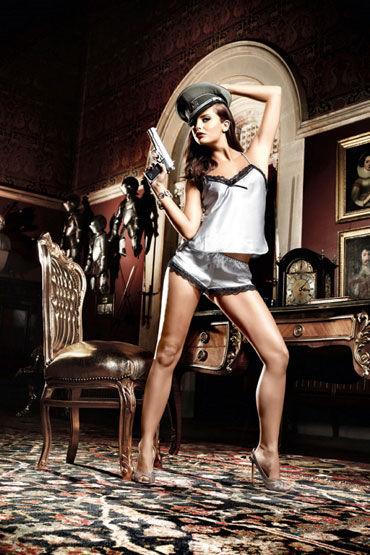 Baci комплект, серебристо-черный Сатиновые маечка и шортики топы и маечки женские материал полиэстер