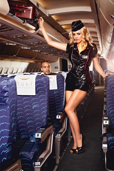 Baci Обольстительная Стюардесса Пиджак, мини-юбка, значок, галстук и пилотка