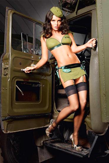 Baci Обольстительница Милитари Топ, мини-юбка и пилотка игровой голубой костюм улетная стюардесса топ мини юбка шарф значок и пилотка
