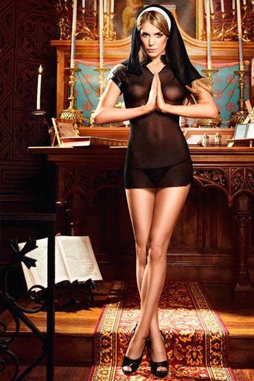 Baci Очаровательная Монашка Мини-платье и головной убор вакуумная помпа penis enlarger pump красная 19 см
