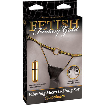 Pipedream Fetish Fantasy Gold Vibrating Micro G-String Set Вибротрусики вибратор g5 vibe big boss