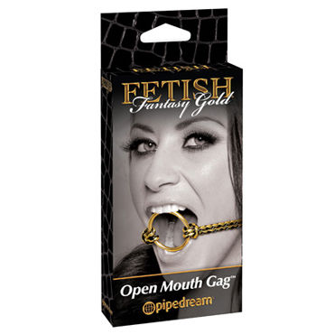 Pipedream Fetish Fantasy Gold Open Mouth Gag Расширитель для рта pipedream pleasure tape красный скотч для связывания