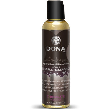 Dona Kissable Massage Oil Chocolate Mousse, 110 мл Ароматическое массажное масло шоколад dona kissable massage oil strawberry souffle 110 мл ароматическое массажное масло клубника