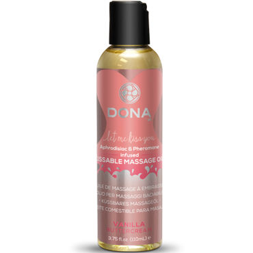 Dona Kissable Massage Oil Vanilla Buttercream, 110 мл Ароматическое массажное масло ваниль baile brave man making love vibration вибронасадка на пенис