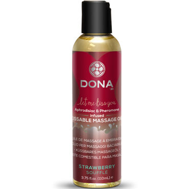 Dona Kissable Massage Oil Strawberry Souffle, 110 мл Ароматическое массажное масло клубника dona kissable massage oil strawberry souffle 110 мл ароматическое массажное масло клубника