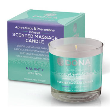 Dona Scented Massage Candle Naughty Aroma Sinful Spring, 135 г Массажная свеча с ароматом Шалость пена для ванн dona bubble bath naughty aroma sinful spring 240 мл