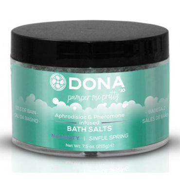 Dona Bath Salt Naughty Aroma Sinful Spring, 215 г Соль для ванны меняющая цвет воды с ароматом Шалость декоративные лепестки dona rose petals pink розовые