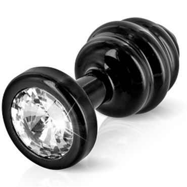 Diogol Anni Ano T1, черная Рельефная анальная пробка с кристаллом Swarovski anni ano t2 анальная пробка ребристая черная в коробочке