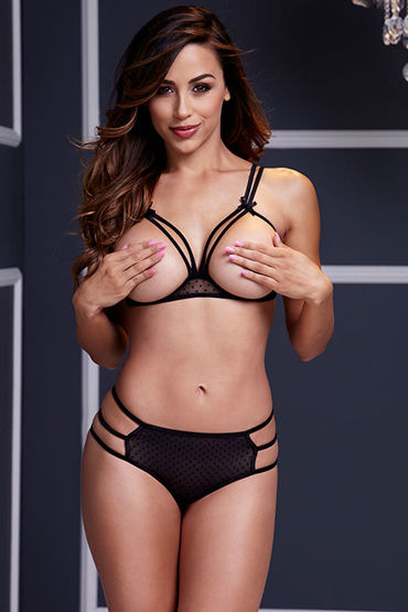 Baci Комплект белья, черный Бюстгальтер с открытой грудью и трусики комплекты эротического белья baci lingerie