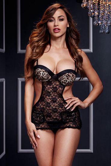 Baci Прозрачная сорочка, черная Из эластичной вуали кэтсьюты и чулки на тело baci lingerie официальный сайт