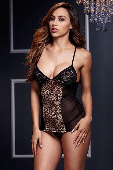 Baci Прозрачная сорочка, черная С леопардовым принтом маска baci lingerie со стразами masq midnight черная