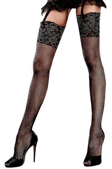 Baci Чулки в мелкую сетку, черные С кружевной отделкой baci мини платье золотисто черное с нежной кружевной отделкой
