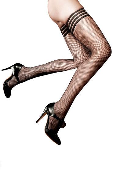 Baci Чулки в мелкую сетку, черные С отделкой полосками чулки private french maid высокие в мелкую сетку черные 42 46