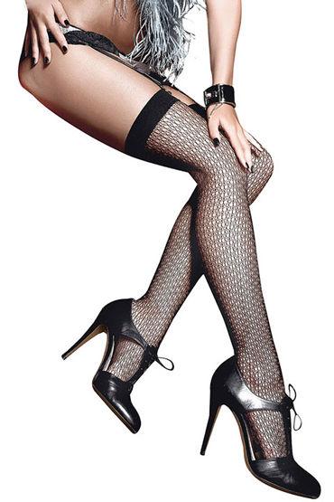 Baci Жаккардовые чулки, черные С узкой резинкой анальные игрушки для женщин длина 18 20 см