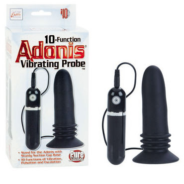 California Exotic 10-Function Adonis Vibrating Probes, черная Анальная пробка с вибрацией adonis extension clear