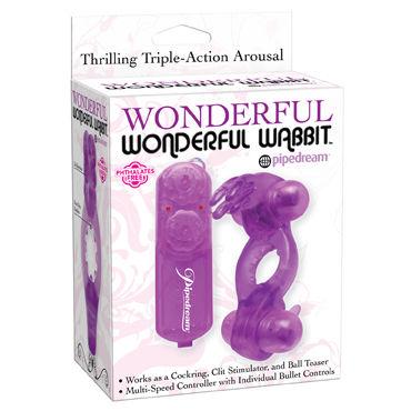 Pipedream Wonderful Wonderful Wabbit, фиолетовый Эрекционное кольцо с двумя виброэлементами с пультом управления водонепроницаемая вибро пуля