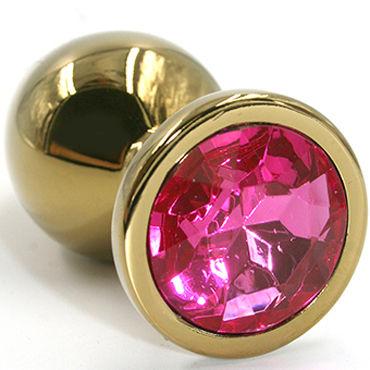 Kanikule Большая анальная пробка, золотая С розовым кристаллом ресницы дабл хастл