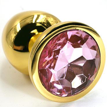 Kanikule Средняя анальная пробка, золотая Со светло-розовым кристаллом kanikule средняя анальная пробка золотая со светло зеленым кристаллом